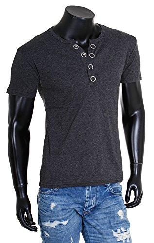 Young & Rich Herren Uni feinripp T-Shirt mit Knopfleiste & tiefem Ausschnitt deep V-Neck einfarbig big buttons große Knöpfe 1872 Dunkelgrau