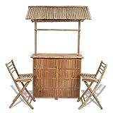 vidaXL Bambus Barset 2 Stühle + 1 Tisch