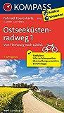 Ostseeküstenradweg 1, Von Flensburg nach Lübeck: Fahrrad-Tourenkarte. GPS-genau. 1:50000.: Fietsroutekaart 1:50 000 (KOMPASS-Fahrrad-Tourenkarten, Band 7052)