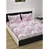 Divine Casa Evan 144 TC Cotton Double Bedsheet With 2 Pillow Covers - Baby Pink
