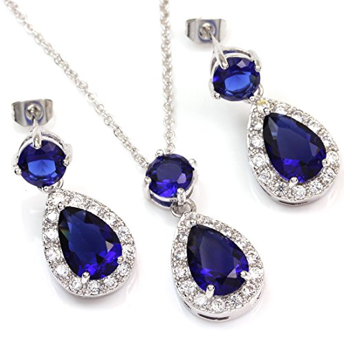Colorfulday White Gold GP Blue Crystal Teardrop Bridal Necklace Dangle Earring Jewelry Set t5KhUppyAA
