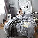 Hlluya Handtuchhalter Vier Stück fusselfreies Tuch Stickerei, Vier Stück Flanell Twin, Liebste Mich Tiger - Grau, 1,5-1,8 m breites Bett.