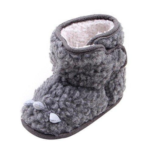 kingko® Unisexe bébé Gris Toddler Infant Bottes de neige molle Sole Prewalker chaussures Berceau