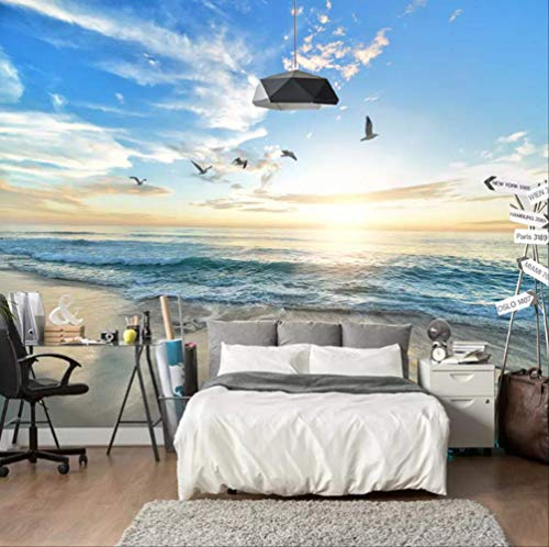 ll Blue Sky White Clouds Sea Landscape Wall Mural Living Room Sofa Bedroom Wall Papers Home Decor Breite 300cm * Height210cm pro ()