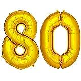 DekoRex® Folienballon Zahlenballon Heliumballon Luftballon Geburtstag Deko 100cm Zahl Gold 80