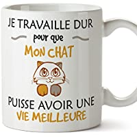 Mugffins mug Tasses de Petit déjeuner Originales - Je Travaille Dur pour Que Mon Chat puisse Avoir Une Vie Meilleure - idées de Cadeaux drôles d'animaux - Céramique 350 ML