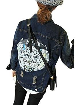 Minetom Mujeres Impresión Chaquetas Béisbol de Mezclilla Abrigo Denim BF Jacket Sudaderas Cardigans Outwear