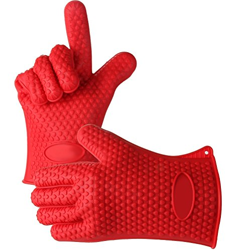 Italish BBQ Oven Glove | Best Versatile Heat Resistant Grill Gloves | Insulated Silicone Oven Mitts for Grilling | Cooking Gloves Baking Gloves Waterproof