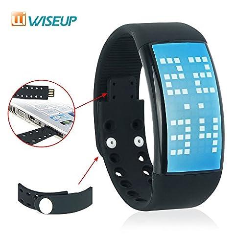WISEUP 8GB USB Cléf Mémoire Pédomètre à Bracelet du Montre avec Fontion d'Édition Prfil Personnalisé et Cool