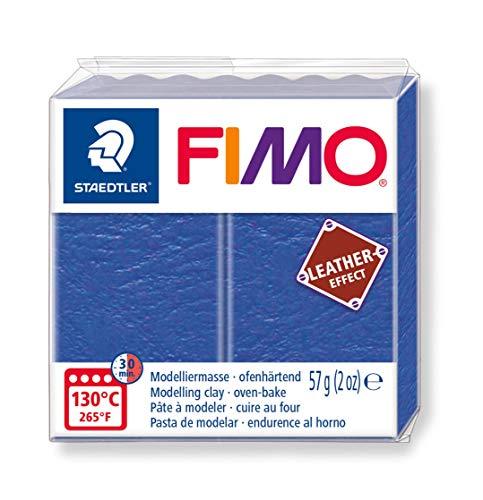 Staedtler 8010-309 Fimo Leather-Effect ofenhärtende Modelliermasse (für kreative Objekte im Leder-Look, lederähnliche Optik und Haptik) Farbe indigo