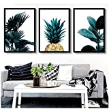 Dayanzai Nordic Tropical Palm Leaves Peinture Sur Toile Ananas Affiches Et Affiches Mur Art Verdure Mur Photos Salon Décoration 50X70Cmx3Pcs Sans Cadre