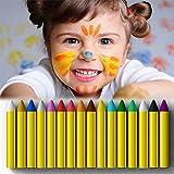 MiMoo 16 Farben Gesicht malen Buntstifte, ungiftig Körperbemalung Sticks Körper Tattoo Buntstifte Kit für Kinder, Kleinkinder, Set von 16 hergestellt von MiMoo