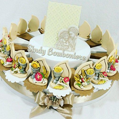 Torta bomboniera con gocce in resina con immagini sacre calice con ostia cresima prima comunione battesimo (torta da 20 fette (1 piano))