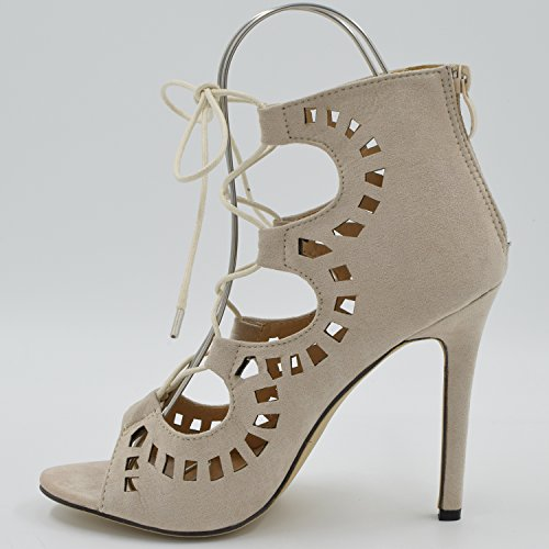 Oasap Fashion Pointed Toe Solid Strappy Lace Up Stiletto Heels apricot