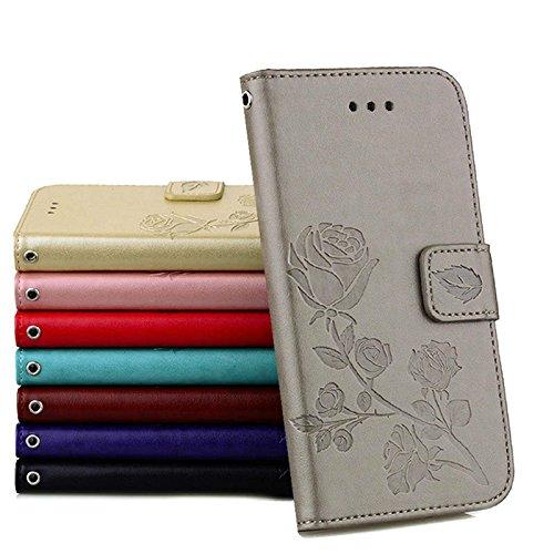 Coque Samsung J1 (2016) Anfire Fleur Motif Peint Mode Coque PU Cuir pour Galaxy J1 (2016) J120 Etui Case Protection Portefeuille Rabat Étui Coque Housse pour Samsung Galaxy J1 (2016) SM-J120FN (4.5 po Gris