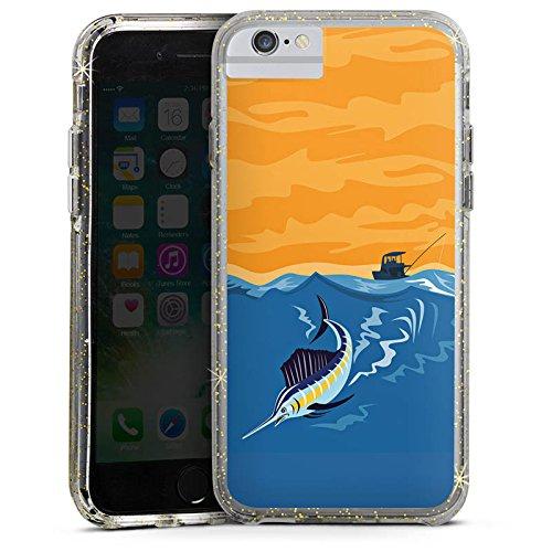 Apple iPhone X Bumper Hülle Bumper Case Glitzer Hülle Schwertfisch Angeln Fisch Bumper Case Glitzer gold