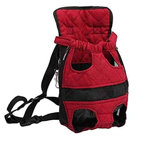 Front Pack Backpack Canvas Bags Carrier for Cat Dog Puppy Head Legs Tail Out Portable and Safe (XL-Suggest Dog Weight Under 14.2 lb, Red)