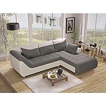 JUSThome Linea Sofá esquinero chaise longue ante sintético piel ecológica 79 x 190 x 257 cm Blanco Gris I Brazo derecho