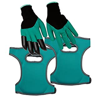 Homekit Gardening Knee Pads and Gardening Gloves Set – Incudes Finger Claws for Easy Digging by
