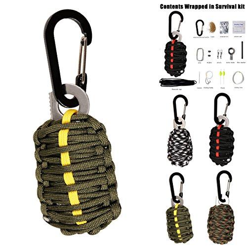 SOONHUA Notfall Paracord Survival Kit mit Karabiner Feuer Starter Überlebens und Outdoor Ausrüstung Emergency Bag und Military Grade Karabiner Snap Hook (Green) (Feuer-starter-überlebens -)