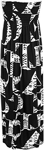 WearAll - Übergröße Damen Bedruckt Gerafft Trägerlos Bandeau Maxi-Kleid - 4 Mustern - Größen 44-50 Buchstaben