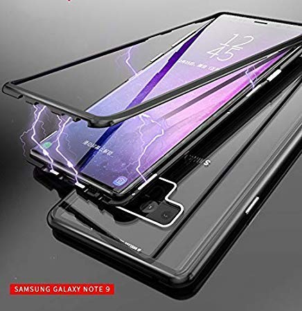 Octer® Magnetic Metal Frame Tempered Glass Hard Back Cover with Built-in Magnets Bumper for Samsung Galaxy Note 9 (Black, Dual Protection)