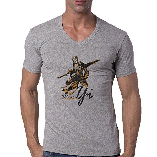 League Of Legends Master Yi Herren V-Neck T-Shirt Grau