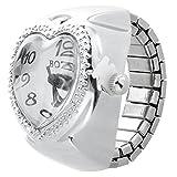 Orologio dell'anello - SODIAL(R) Argento del cuore del quarzo tasca l'anello di barretta Orologio