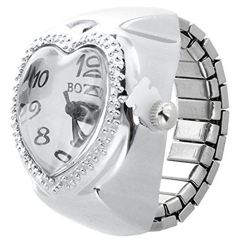 Orologio dellanello SODIAL Argento del cuore del quarzo tasca lanello di barretta Orologio