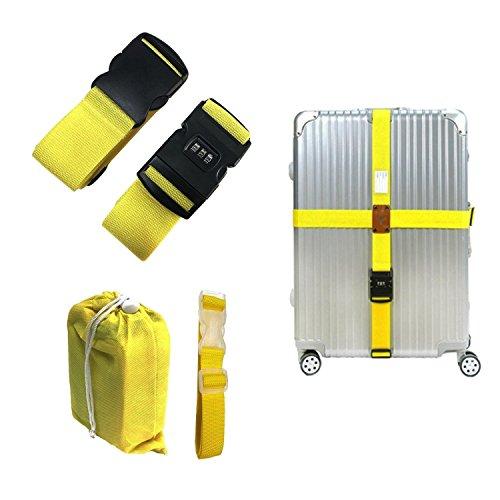 """CHMETE 2 piezas Long Straight Cross Correas de equipaje Número de bloqueo para 20 """"-32"""" maleta"""