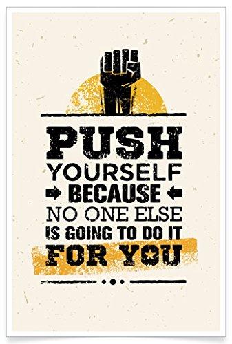 PosterHouse24 PH006A2 Fitness Poster Push Bodybuilding Motivation 235g/qm Premium Satin Fotopapier 42 x 61 cm