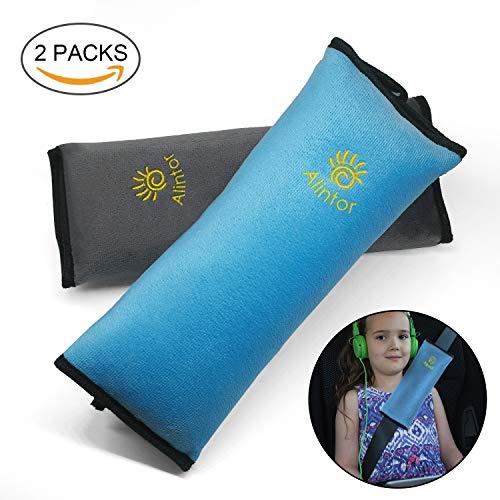 Alintor 2 pezzi auto per bambini cuscino, per cinture di sicurezza auto, come cuscino per la testa sicurezza, protezione per il collo (blu & grigio)