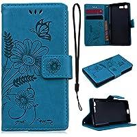 CE-Link für Sony X Compact Handyhülle Hülle Ledertasche Schutzhülle Leder Huelle mit Blau Schmetterling Blumen... preisvergleich bei billige-tabletten.eu