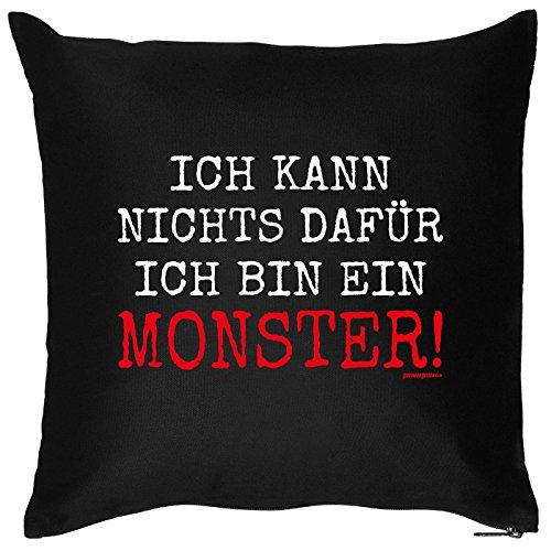Kissen mit Halloween Motiv: Ich kann nichts dafür, ich bin ein Monster! - Halloween Deko für das Wohnzimmer - Couch - Sofa - schwarz