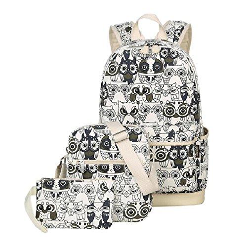 OURBAG Mochila patrón de búho Bolsas de hombro Billetera 3PCS fijado para las mujeres Negro