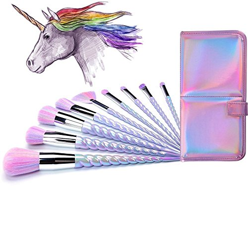 Lennov Einhorn Make-up Pinsel Set bunte Borsten Unicorn Horn Griffe Fantasy Makeup Tools Foundation...