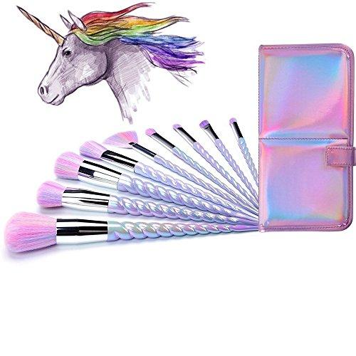 Lennov Einhorn Make-up Pinsel Set bunte Borsten Unicorn Horn Griffe Fantasy Makeup Tools Foundation Lidschatten Einhorn Bürsten Kit mit...