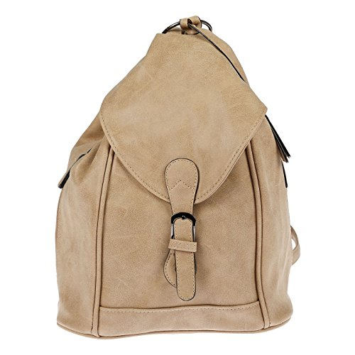 Nili Bags and More Damen Rucksack Handtasche Shopper Rucksackhandtasche Handtasche Bag Beige