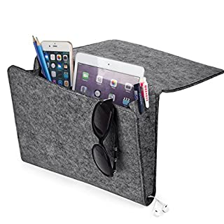[UPGRADED] Thicker Bedside Pocket, Felt Bedside Caddy Home Sofa Desk Bed Caddy Storage Organizer with Cable Holes 2 Small Pockets for Organizing Tablet Magazine Phone Small Things Holder (Gray)