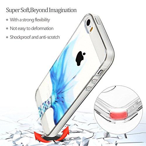 Coque iPhone 5S, Etui Coque TPU Slim Housse Cover avec Motif Cheval Arc en Ciel Bumper pour Apple iPhone 5 / 5S / SE (4.0 pouces) Souple Housse de Protection Flexible Soft Case Cas Couverture Anti Cho Fleur