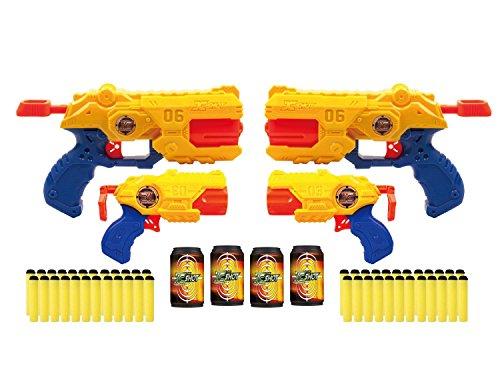 Preisvergleich Produktbild Zuru X-Shot Revolver Combo 4er Pack: 2x Reflex Revolver TK-6 2x Barrel Breaker TK-3 Spielzeugblaster Dartblaster + 48 Softdarts + 4 Dosen
