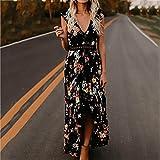 Wildlead estate donne floreale abito senza maniche con scollo a V Backless stampato prendisole irregolare Hollow spiaggia abiti Nero S