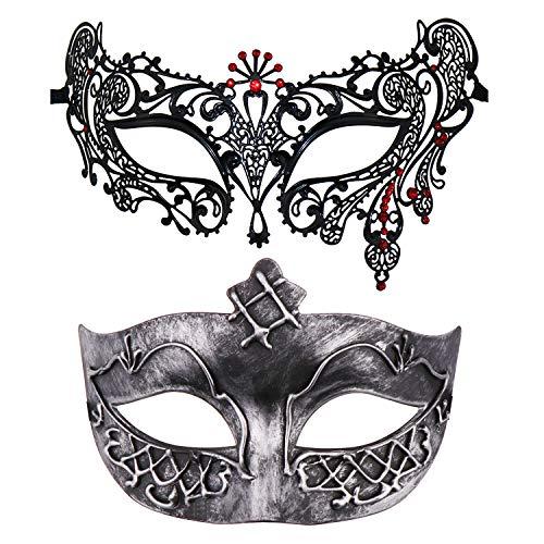 Kostüm Paare Erstaunliche - Thmyo Set von 2 Maskerade Maske für Paare, venezianische Karneval Kostüm Ball Maske (Antikes Silber & Schwarz + Rot)