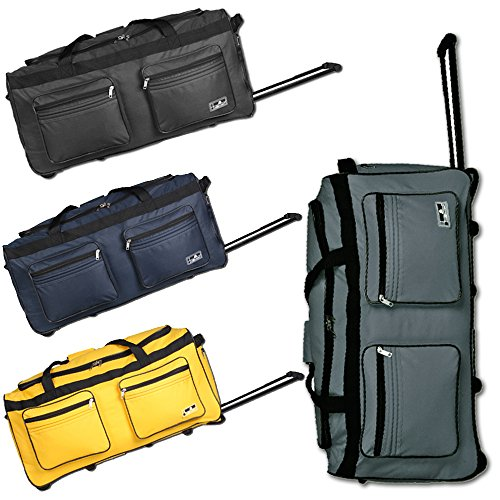 JEMIDI XXL Reisetasche 120L Sporttasche Trolley XXL Jumbo mit 2 Rollen Tasche Koffer (Navy) Schwarz