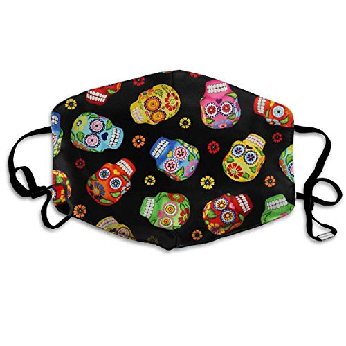 Daawqee Staubschutzmasken, Cantina Skulls Black Allergy & Flu Mask - Comfortable, Washable Protection from Dust, Pollen, Allergens, Cold & Flu Germs with Antimicrobial; Asthma Mask