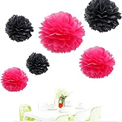 Since 12Pcs of 8 10 14 3 Colors Mixed Black and Hot pinkTissue Paper Flowers,Tissue Paper Pom Poms,Wedding Party Decor,Pom Pom Flowers,Tissue Paper Flowers Kit,Pom Poms Craft,Wedding Pom Poms