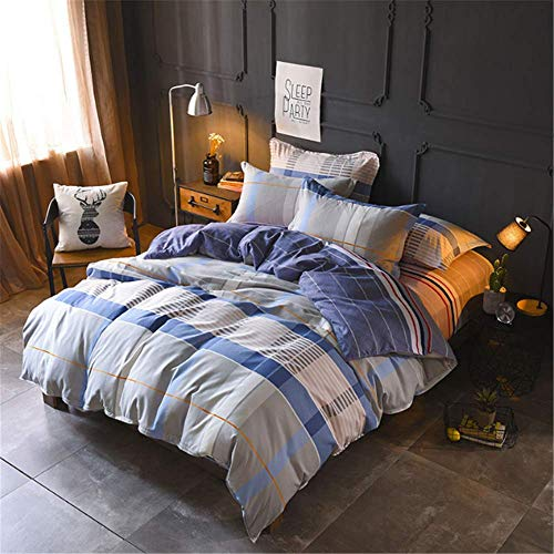 SHJIA Luxusbettwäschesatz Farblich abgestimmtes Bett-Set Bettlaken Queen King Size Mashup Bettbezug-Set Bettwäsche A 200x230cm (Queen-bett-sets, Türkis)