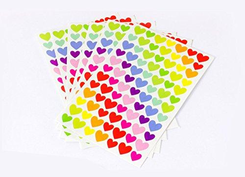Herzen Sticker Set 6 Seiten Bunte Herzchen Aufkleber Herzensticker Notizsticker Notizbuch Kalender Geburtstag Briefe Fotoalbum Scrapbooking DIY (Bunte Herzen)