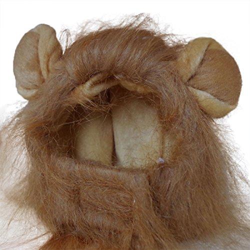 Löwe Cosplay Perücke Löwen-Kostüm Katze Hut Neuheit Löwenmähne Kopfbedeckung mit Ohren für Karneval, Halloween, Partys, Feste Haustier Spielzeug Zubehör für Kleine Hunde Welpen (Hellbraun)
