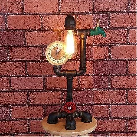 Tubo de hierro industrial retro lámpara (BBB) , blanco cálido-110-120v